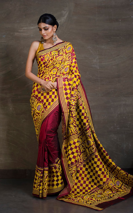 Hand Embroidered Kantha Stitch Saree in Maroon and Yellow