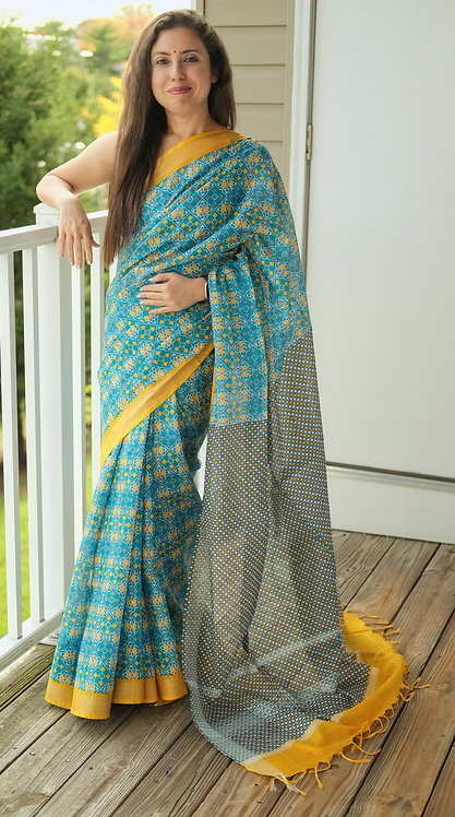 Hand Block Printed Patola Ikkat Cotton Linen Saree in Blue and Yellow
