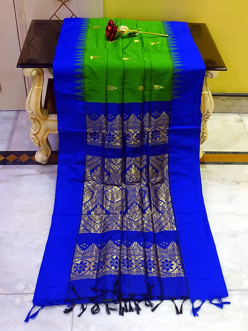 Soft South Cotton Gadwal Saree in Green and Blue