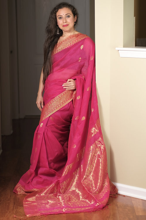 Silk Linen Saree in Hot Pink and Gold