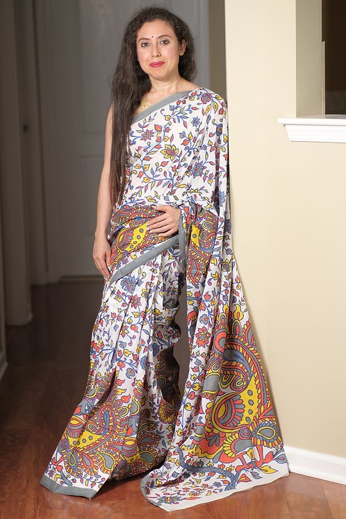Soft Mulmul Cotton Block Printed Saree in White, Gray and Red