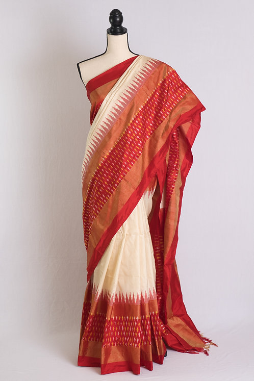 Pochampally Double Ikat Saree in Off White and Red