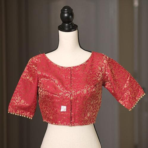 Red and Gold Boat Neck Designer Banarasi Blouse in Size 32