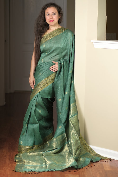 Silk Linen Saree in English Green and Gold