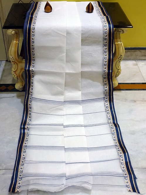 Bengal Handloom Cotton Saree with Starch in White and Dark Blue