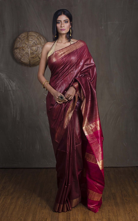 Pure Gicha Tussar Saree in Brownish Maroon and Red