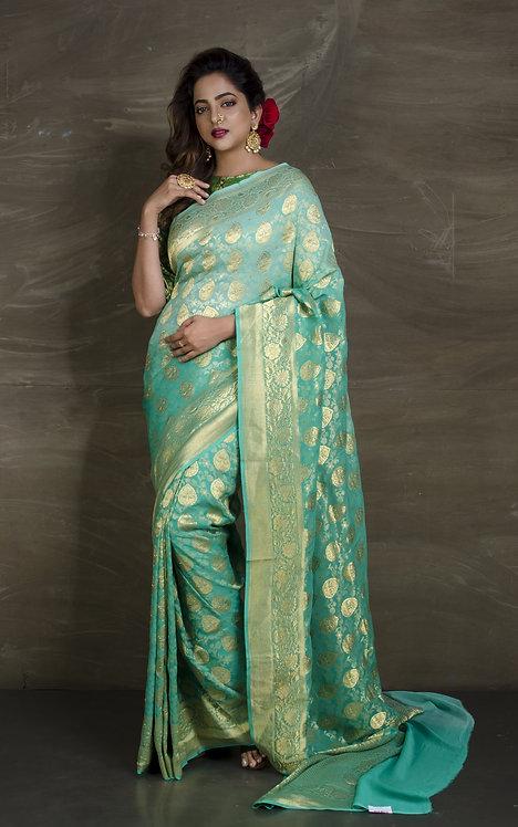 Pure Georgette Banarasi Saree in Sea Green and Gold
