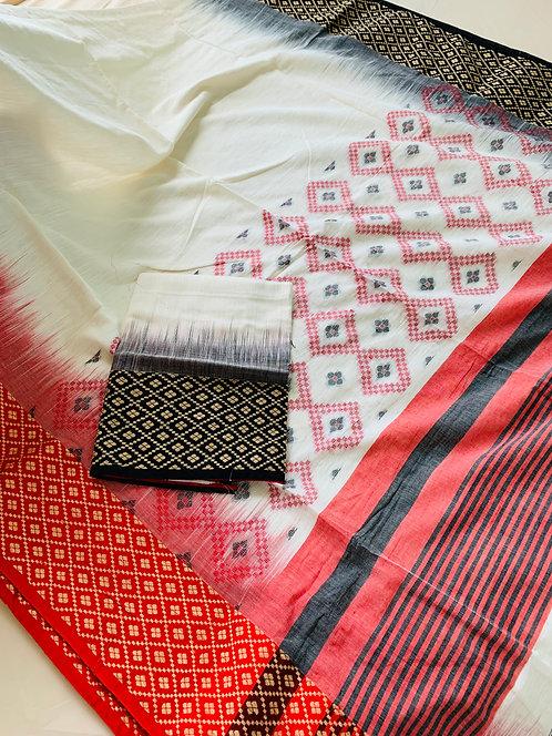 Ganga Jamuna Border Soft Cotton Saree in Off White, Red and Black