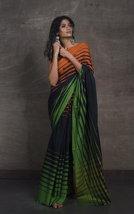 Bengal Handloom Designer Soft Cotton Saree in Black, Orange and Green