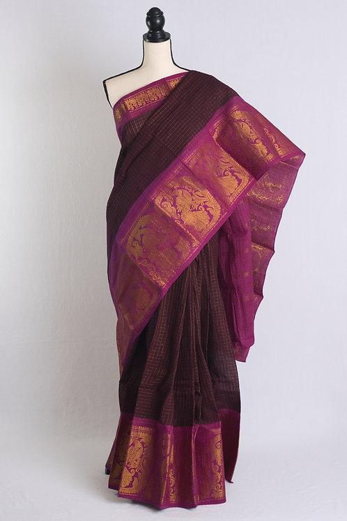 Zari Border Pure Cotton Sungudi Saree in Dark Purple and Gold