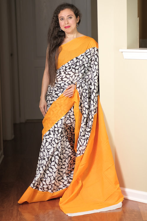 Soft Mulmul Cotton Saree in Black, White and Yellow