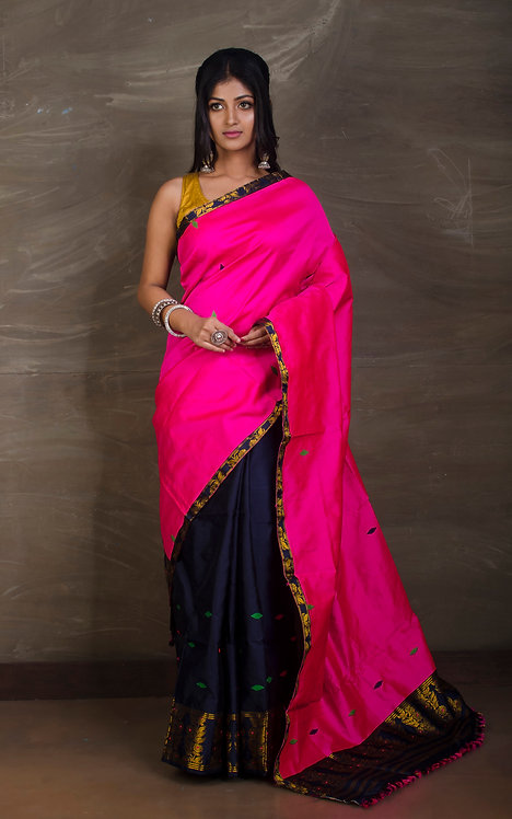 Ludhiana Paat Mekhela Sador in Hot Pink and Midnight Blue