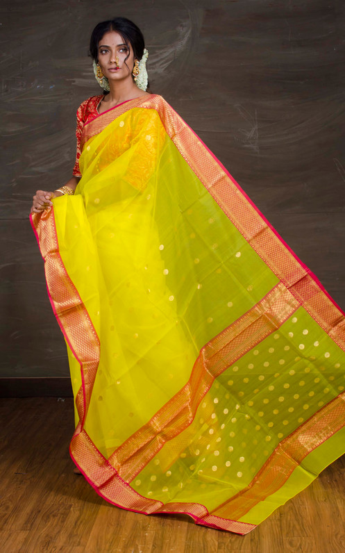 cbd10334d7463d Pure Chanderi Katan Silk Saree in Bright Yellow and Red