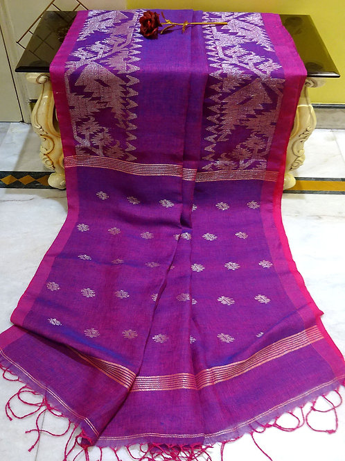 Linen Jamdani Saree in Purple and Antique Silver
