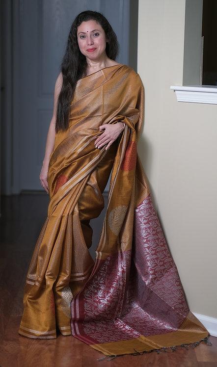 Semi Raw Silk Saree in Brown and Maroon