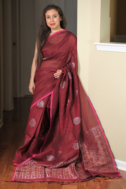 Linen Saree in Maroon, Silver and Antique Gold