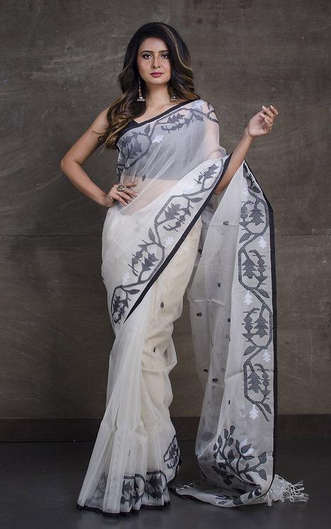 Hand Karat Work Silk Jamdani Saree in Off White, Black and White