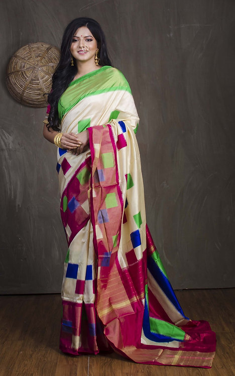 Double Ikat Pochampally Saree with in Off White, Green and Magenta