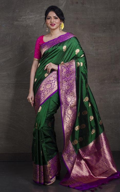 Pure Katan Banarasi Silk Saree in Dark Green and Purple
