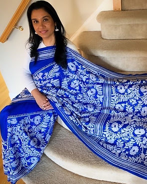 Susan from New York in her traditional Kantha Stitch Saree from Bengal Looms