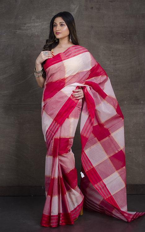 Bengal Handloom Cotton Saree with Starch in Red and White