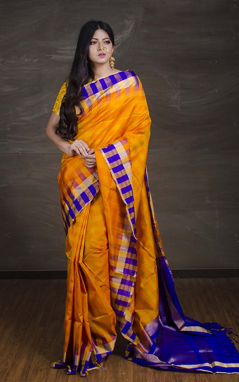 Pure Kanchipuram Silk Saree with Checks Border in Yellow and Blue