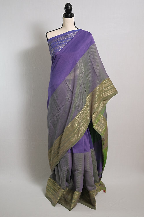 Pure Soft Cotton Saree in Purple and Green