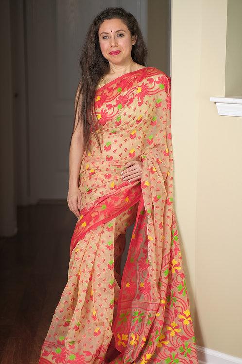 Soft Jamdani Saree in Beige, Red, Yellow and Green