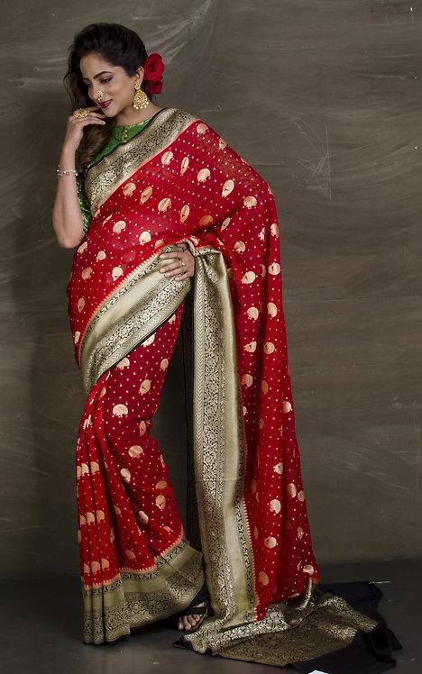 Pure Khaddi Georgette Banarasi Saree in Red, Black and Gold