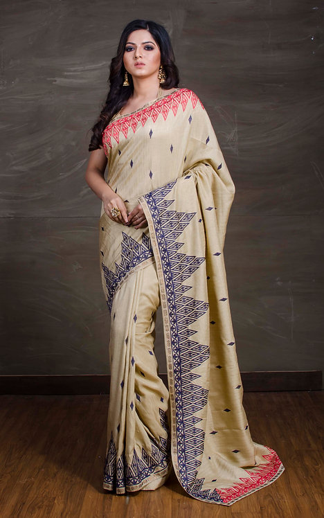 Semi Matka Tussar Embroidery Work Saree in Beige, Blue and Red