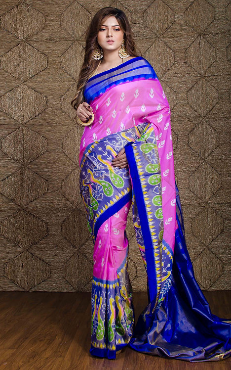 Pure Ikkat Patola Silk Saree in Pink and Blue
