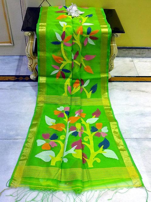 Muslin Jamdani Saree in Parrot Green