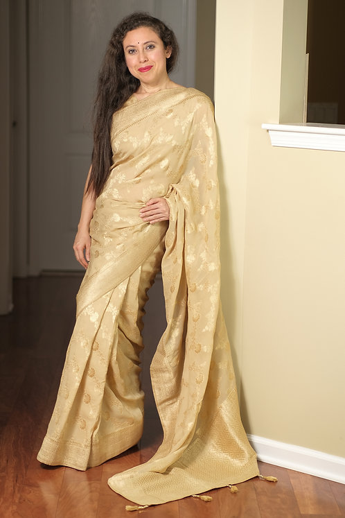 Crepe Georgette Banarasi Saree in Beige and Gold