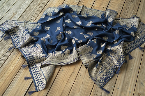 Banarasi Dupatta in Dark Blue and Antique Gold