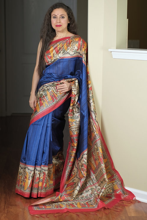 Art Silk Printed Gicha Tussar Saree in Blue and Red