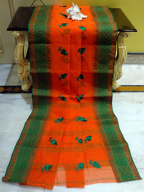 Bengal Handloom Cotton Embroidery Saree with Starch in Orange and Green