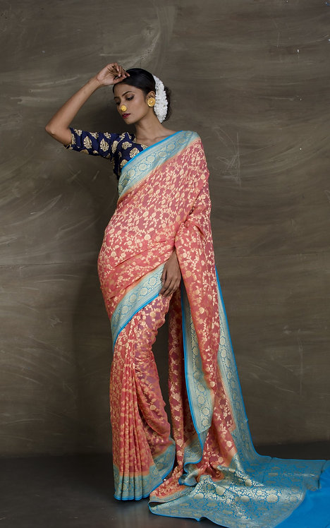 Pure Khaddi Georgette Jaal Banarasi Saree in English Pink and Sky Blue
