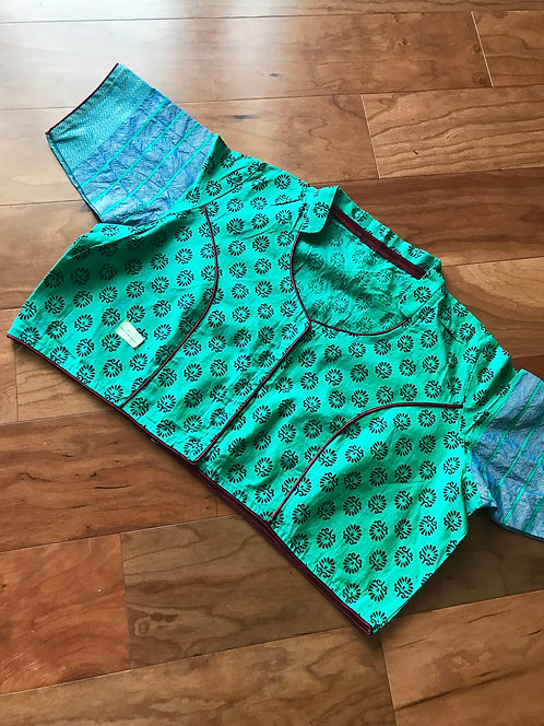 Printed Cotton Rama Green Blouse in Size 42