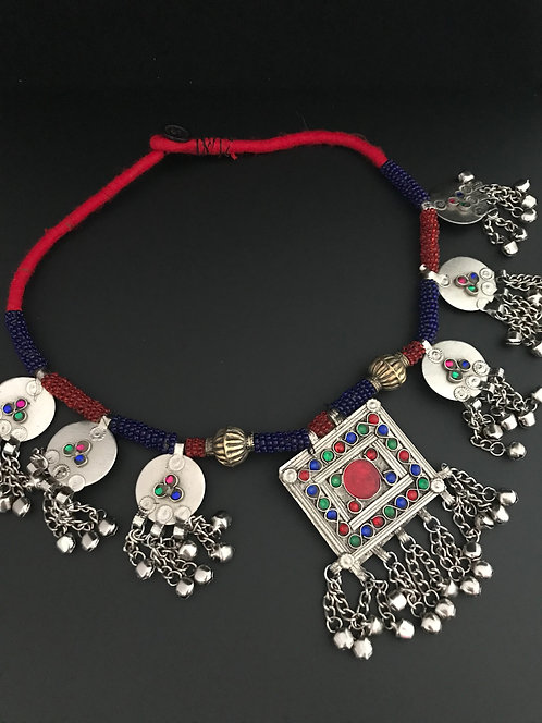 Afghan Tribal Necklace with Square Pendant