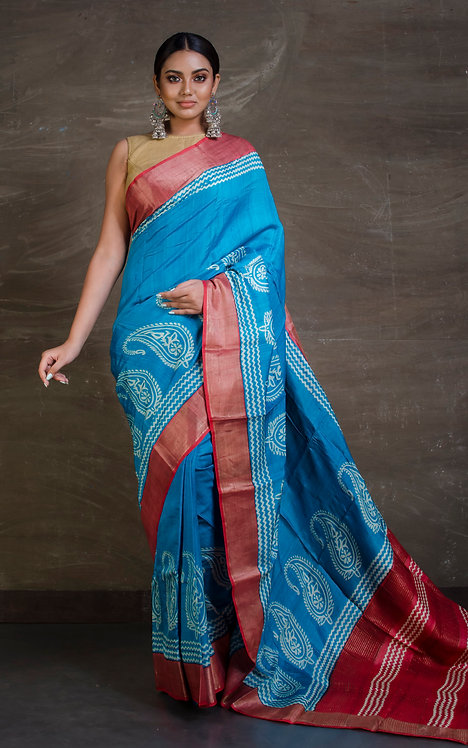 Printed Soft Tussar Saree in Turquoise and Red