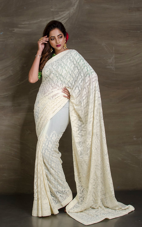 Pure Georgette Lucknow Chikankari Saree in Off White