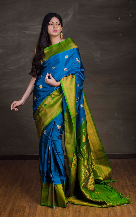 Exclusive Gadwal Silk Saree in Blue and Green
