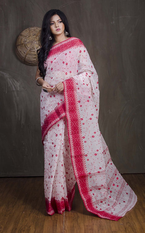 Bengal Handloom Embroidery Cotton Saree with Starch in White and Red