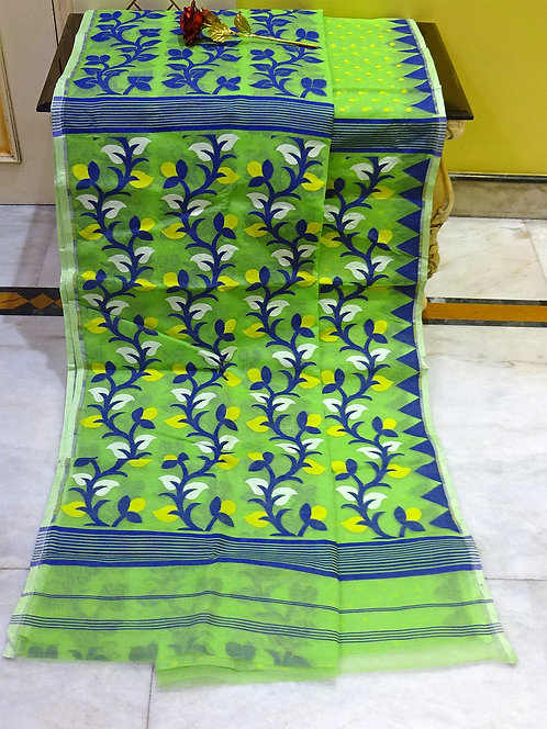 Skirt Border Jamdani Saree with Starch in Lime Green and Blue