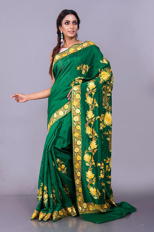 Kashmiri Embroidery Saree in Emerald Green
