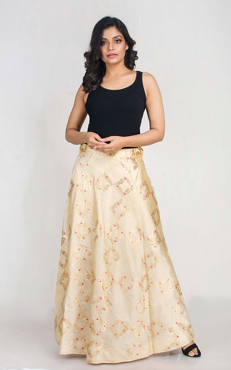 Banarasi Silk Flared Long Skirt in Gold and Rani, Size S