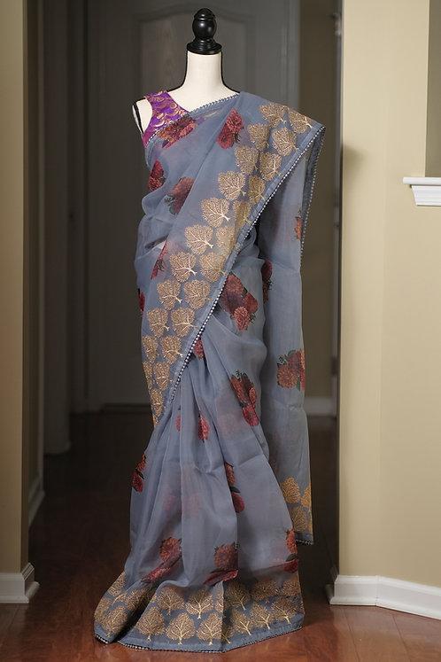 Designer Floral Organza Embroidery Saree in Gray
