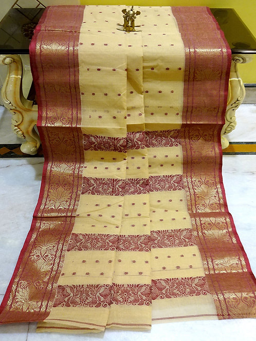 Bengal Handloom Cotton Tangail Saree with Starch in Beige and Maroon
