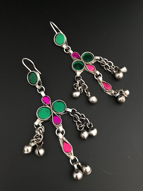 Tribal Earrings with Glass Stones
