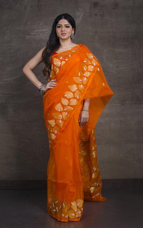 Muslin Jamdani Saree in Orange and Gold